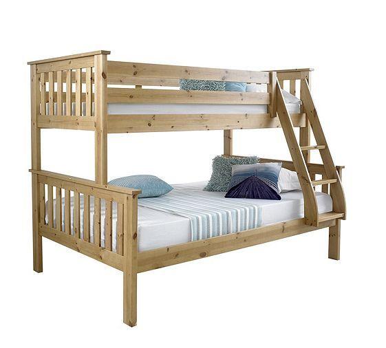 Tesco direct: Happy Beds Atlantis Solid Pine Wooden Triple Sleeper Bunk Bed 2 Orthopaedic Mattresses