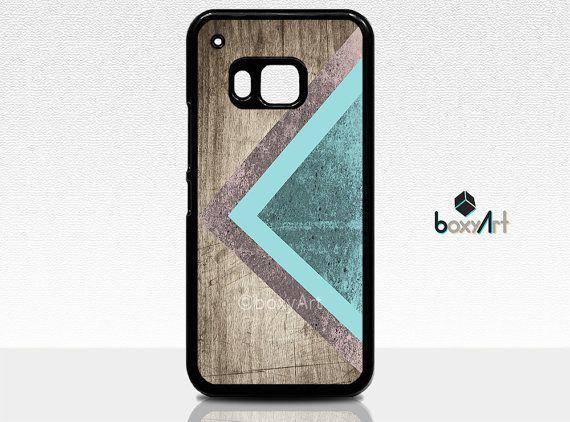 HTC ONE M9 Case Geometric mint triangle on wood by boxyArts