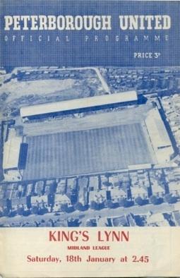 Away to Peterborough United Jan 18 1958 Midland League