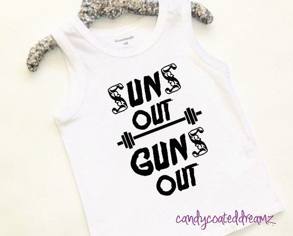 Suns Out Guns Out funny tank top for muscle bound toddler boys trendy baby stylish kids summer shirts
