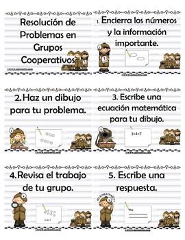 Here is the Spanish version from my Cooperative Learning Group Roles in problem Solving. I have been using cooperative learning strategies in my classroom to keep my students engaged and accountable in their own learning process. These posters have helped me a lot when letting my students know what their roles and responsibilities are when it comes to problem solving steps and strategies.