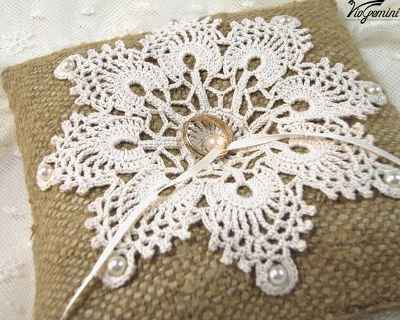 Natural SILK BURLAP Pillow with crocheted lace~~make pillows to highlight your special projects. Give as gifts! She sells these as ring pillows on the link.