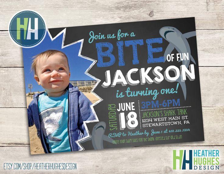 boy first birthday shark invite, chalkboard bite of fun summer invitation, 1st birthday printable invitation, personalized by Heather Hughes by HeatherHughesDesign on Etsy https://www.etsy.com/listing/286967625/boy-first-birthday-shark-invite