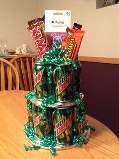 Mountain Dew Gift Tower | #Gift ideas #Gift Basket #Birthday #Drinks #Food