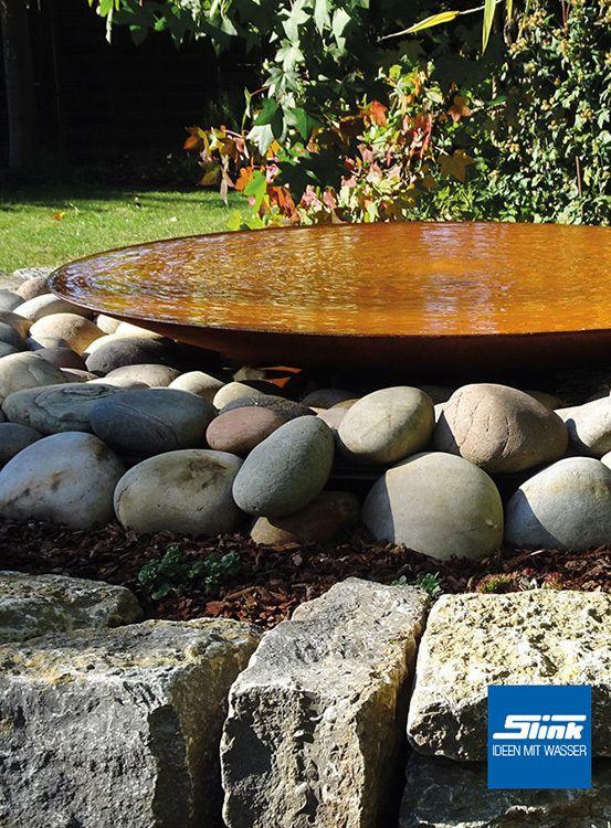 Gartenbrunnen Cortenstahl Schale 120