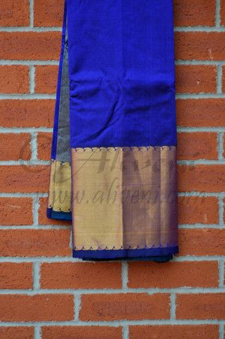 Peacock Blue Plain Kuppadam Saree with Broad Zari Border - Aliveni - 1