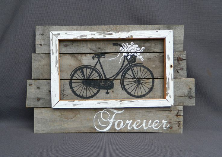 Wedding hand painted painted Daisies in basket of antique bike, Wall art, barn wood, Reclaimed Wood Pallet Art, Rustic and Shabby Chic by TheWhiteBirchStudio on Etsy https://www.etsy.com/listing/227607367/wedding-hand-painted-painted-daisies-in