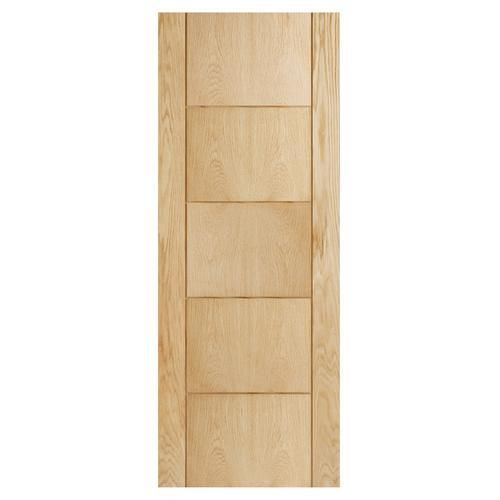 wickes thame internal oak veneer door 5 panel 1981 x 762mm. Black Bedroom Furniture Sets. Home Design Ideas