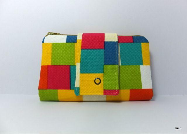 Wallet Purse, Bright Squares, 2 zippered pouches, 12 card slots | lönn | madeit.com.au