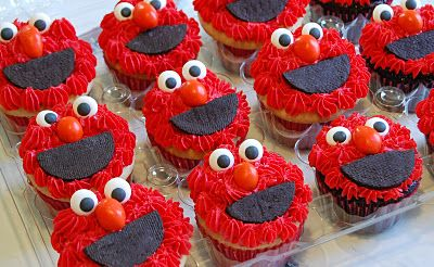 Cute and totally doable Elmo,Cookie & Oscar cupcakes! Get eyes from Michaels/Joanns