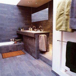 une salle de bains comme un hammam recouverte dardoises vertes clives - Salle De Bain Teck Et Ardoise
