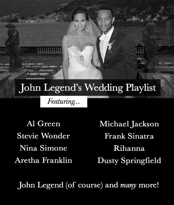 John legend's wedding play list, pretty good! Don't think Stevie will pay at ours though!