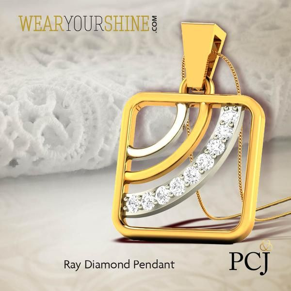 For all the curvy, edgy chic you desire, The Ray Diamond Pendant is worth the bling.  #WearYourShine #Love #PCJeweller #Pendants #Diamonds #IndianJewellery #Jewelry