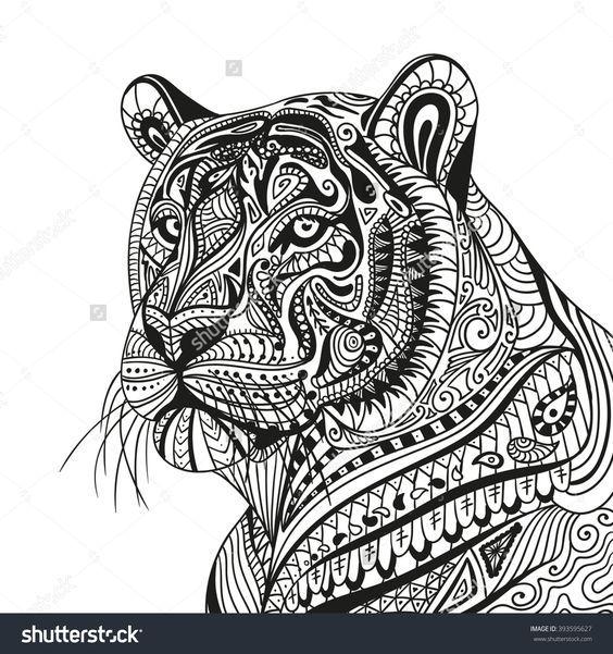 445 besten coloring lion tiger bilder auf pinterest - Mandalas de tigres ...
