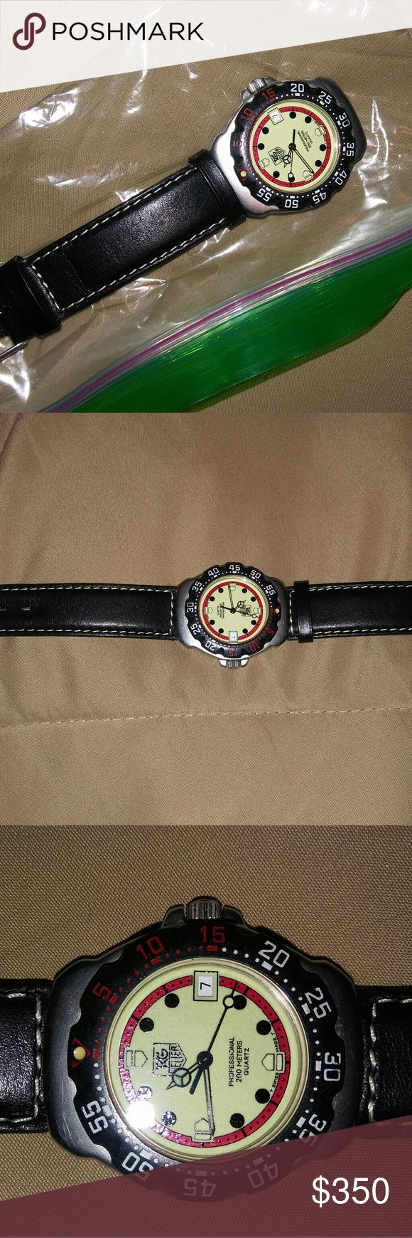 Tag Heuer 90s Unisex Professional 200 Meters Watch 1990 Tag Heuer Formula 1 watch. Mint. New crystal and battery. Genuine Tag components including leather band. This will make a great Christmas gift! These run for $400.00 plus on Ebay so this is an amazing deal! More pictures and videos upon request! Serious Buyers Only Please. Will Ship Same Day Unless Post Office Is Closed For A Holiday! Tag Heuer Accessories Jewelry