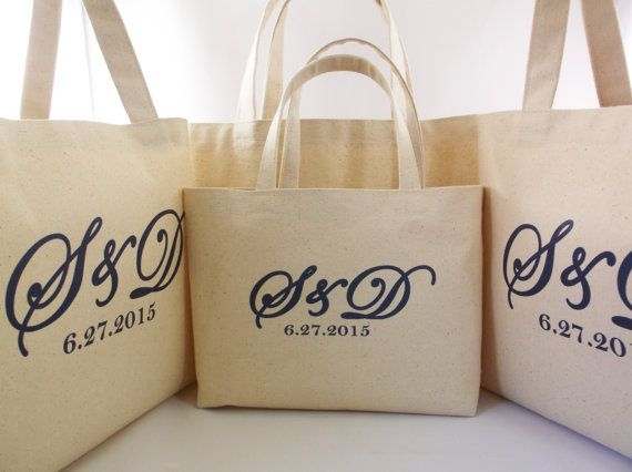 Set Of 6 Wedding Welcome Bags With Brand Monogram Rustic Beach Tote Canvas Bag Large Favor