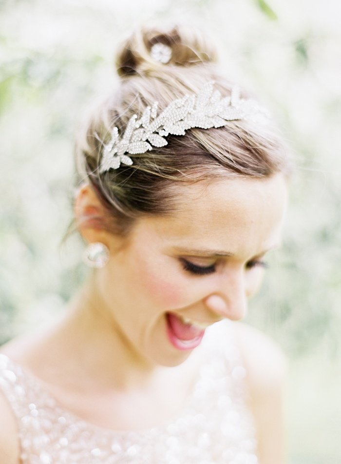 Jennifer Behr Arielle headband... photo by Jen Huang :: bridal hair :: bride :: hair accessory :: up do :: bun :: wedding ::
