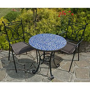 Faro   Garden Bistro Set   Mosaic Style Round Table And 2 Stacking Chairs    Blue