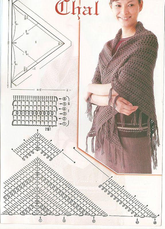Shawl - Free Crochet Diagram - (demismanostejidos.blogspot)