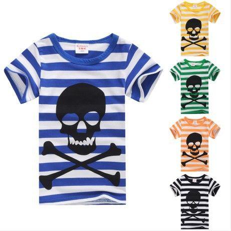 2-3-5-6-7-8-9 продажа новый 201 детский летний одежда ребенок мужского пола хлопка Футболку полоса череп основные рубашки дети повседневная одежда