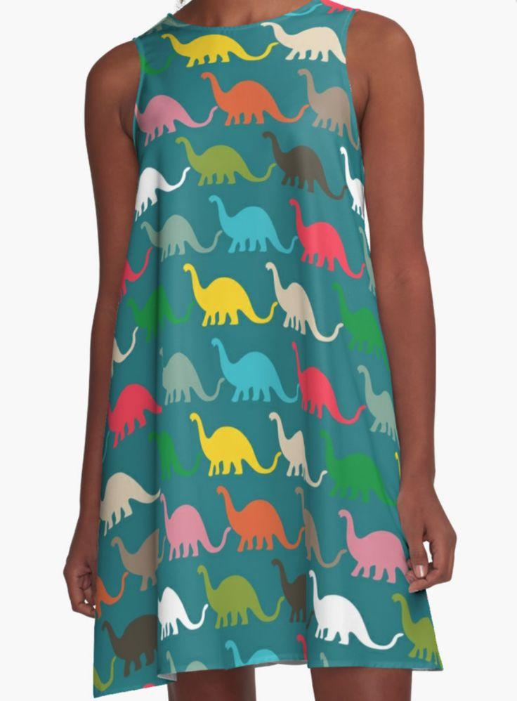 Dinosaurs Dress- Girl Dress - A Line Dress for Woman - Modern Dress