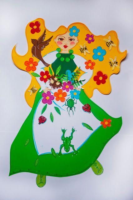Pikczer For Ticzer Wiosenne dekoracje - Spring decoration - illustration, ilustracja, pani wiosna, miss spring, papercut