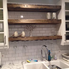 Floating Shelf With A Wine Glass Rack Farmhouse Shelf