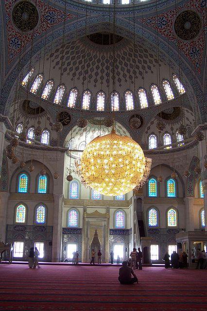 Kocatepe Mosque - Ankara, Turkey      Inside the Kocatepe Mosque (Kocatepe Camii) in the Kızılay district of Ankara, Turkey