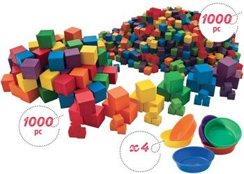 Coloured Counting Cubes & Sorting Bowls