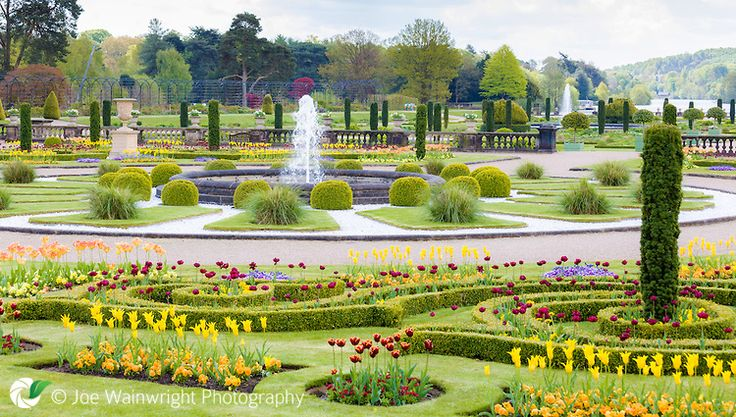 Trentham Gardens, Stoke-on-Trent, Staffordshire in May.  the beds of tulips are at their best in the Upper Flower Garden.
