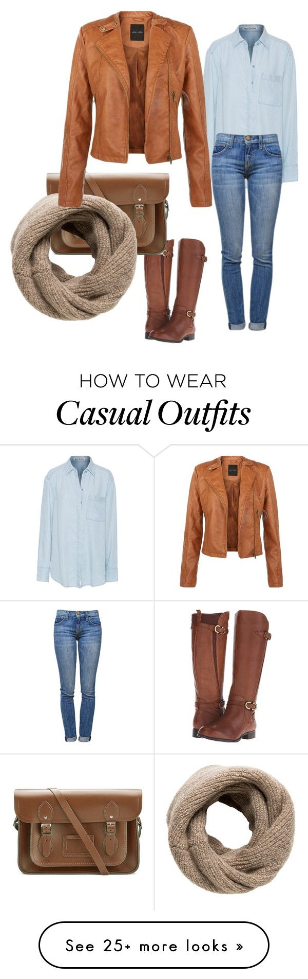 """Casual Blues & Browns"" by sue-sinclair-kenyon on Polyvore featuring Naturalizer, The Cambridge Satchel Company, MANGO, Acne Studios, Current/Elliott and like"