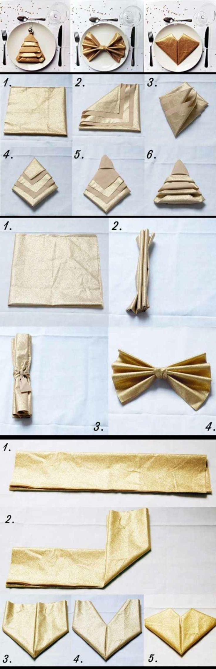 Servietten falten Anleitung in Bildern Weihnachtsdeko Ideen