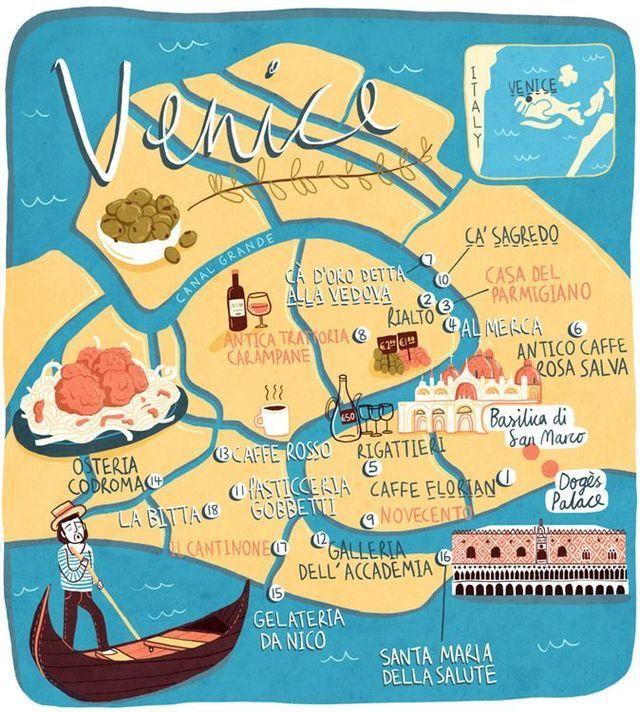 Venice Venice Map Illustrated Map Venice Travel