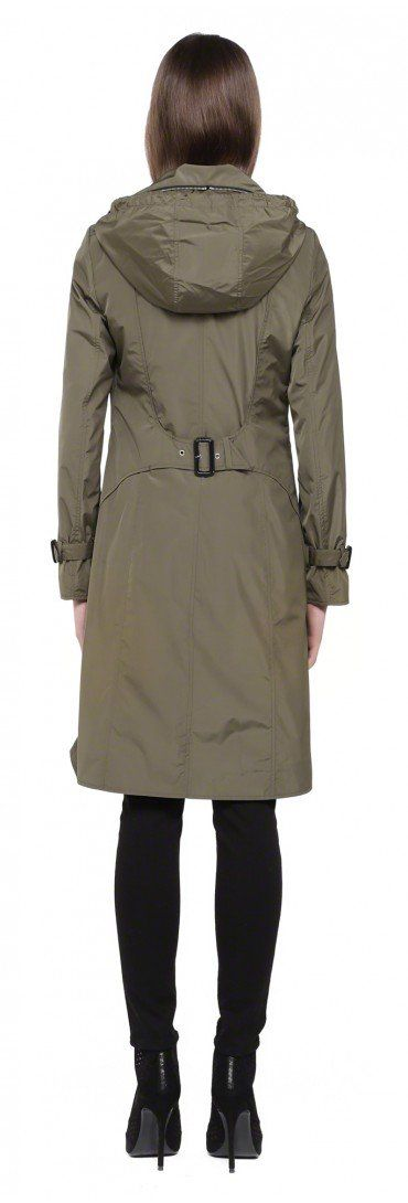 MACKAGE LIANA-S5 KHAKI DOUBLE-BREASTED SPRING SUMMER TRENCH COAT WITH HOOD FOR WOMEN