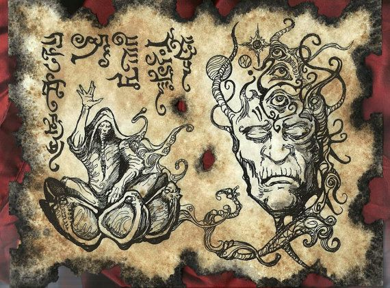SKARL the DRUMMER Cthulhu larp Necronomicon Scrolls dark occult witchcraft magick