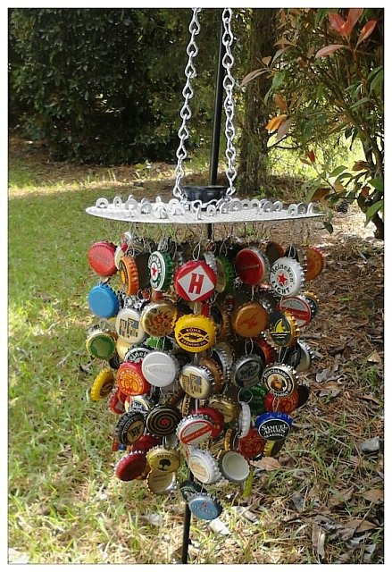 Bottle cap wind chimes that I made from beer bottle caps. Mostly