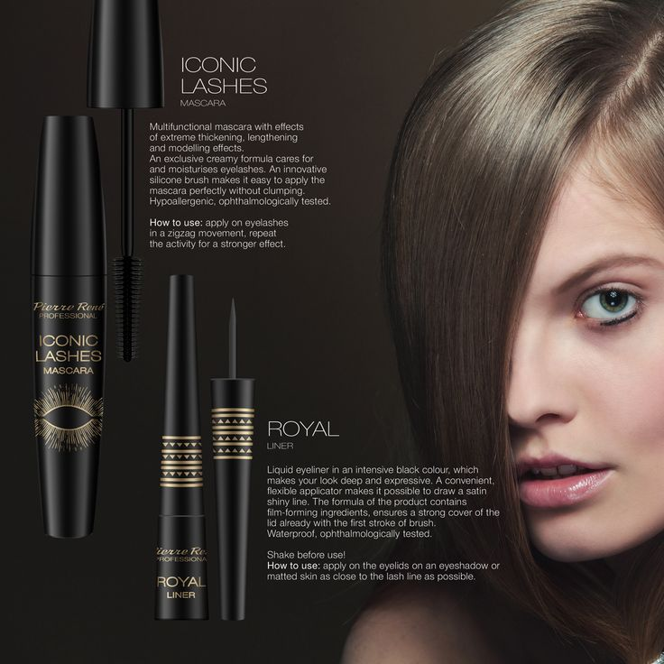 ICONIC MASCARA  Multifunctional mascara with effects of extreme thickening, lengthening and modelling effects. An exclusive creamy formula cares for and moisturises eyelashes. An innovative silicone brush makes it easy to apply the mascara perfectly without clumping. Hypoallergenic, ophthalmologically tested. How to use: apply on eyelashes in a zigzag movement, repeat the activity for a stronger effect.  ROYAL LINER  Liquid eyeliner in an intensive black colour, which makes your look deep…