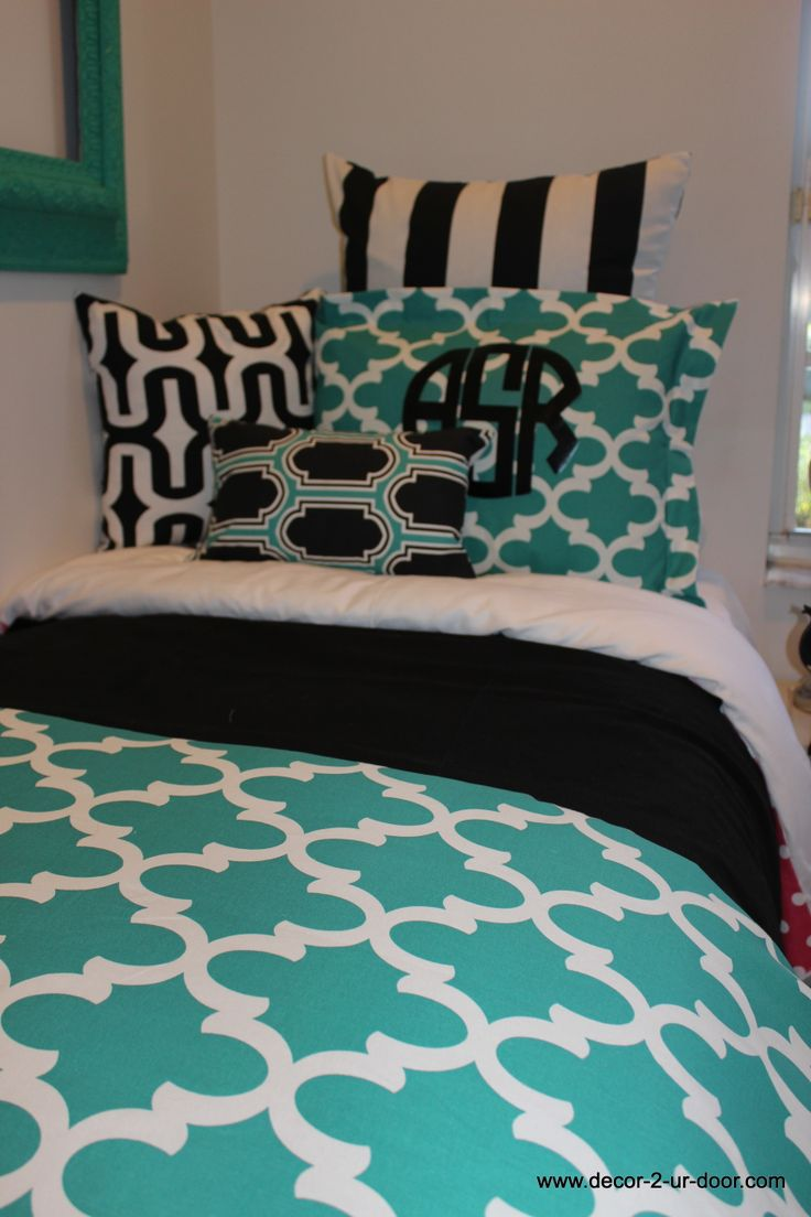 Teal and black appeal add a monogram for Black and teal bedroom designs