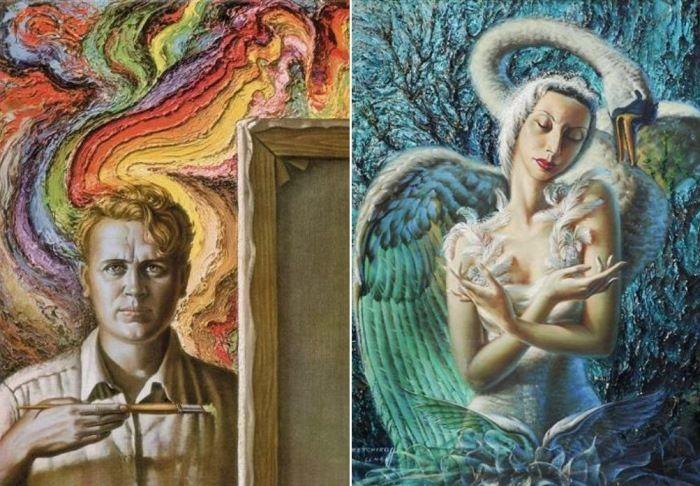 Владимир Третчиков. Слева – Автопортрет. Справа – Умирающий лебедь