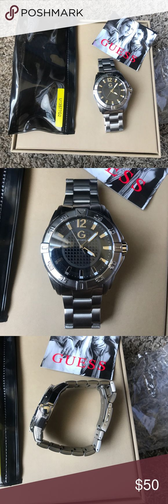 Men's Guess Watch Men's Guess watch New ! In the picure you can se the model number in yellow color ! perfect for A gift comes in a Guess pouch really nice Watch Guess Accessories Watches