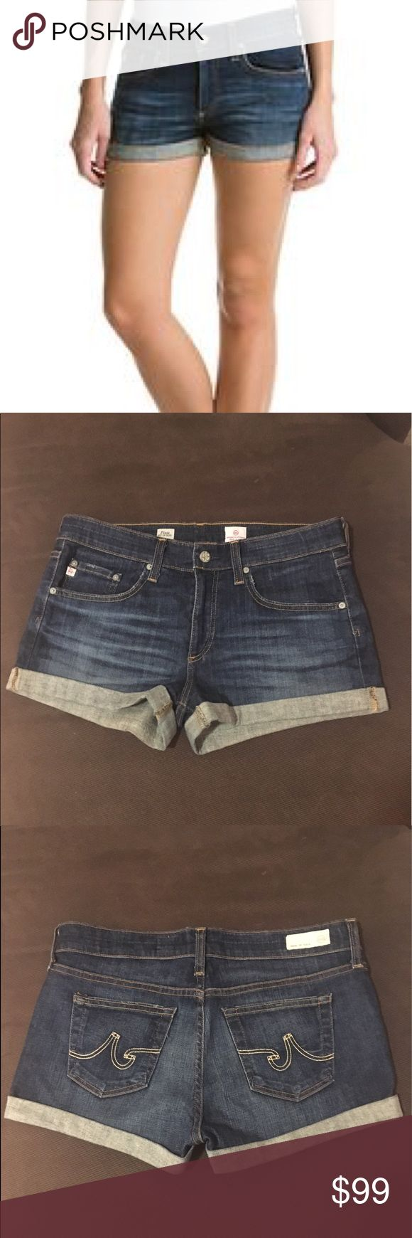 AG Adriano Goldscmied Pixie Roll Up Denim Short Super cute cuffed denim shorts with 5 pocket styling and single button closure. Worn maybe 5 times. Hazy whiskering and fading for the look of the perfect weathered pair. Always air dried. Pet and smoke free home. Ag Adriano Goldschmied Shorts Jean Shorts