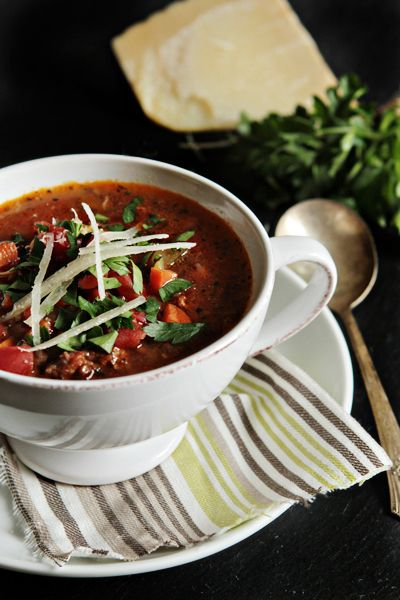 Copycat Carrabbas Sausage and Lentil Soup | This easy soup recipe is the perfect comfort food for winter. It's a hearty Italian soup you'll want to make every week.