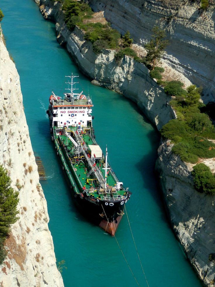 A tanker crossing the Corinth Canal.