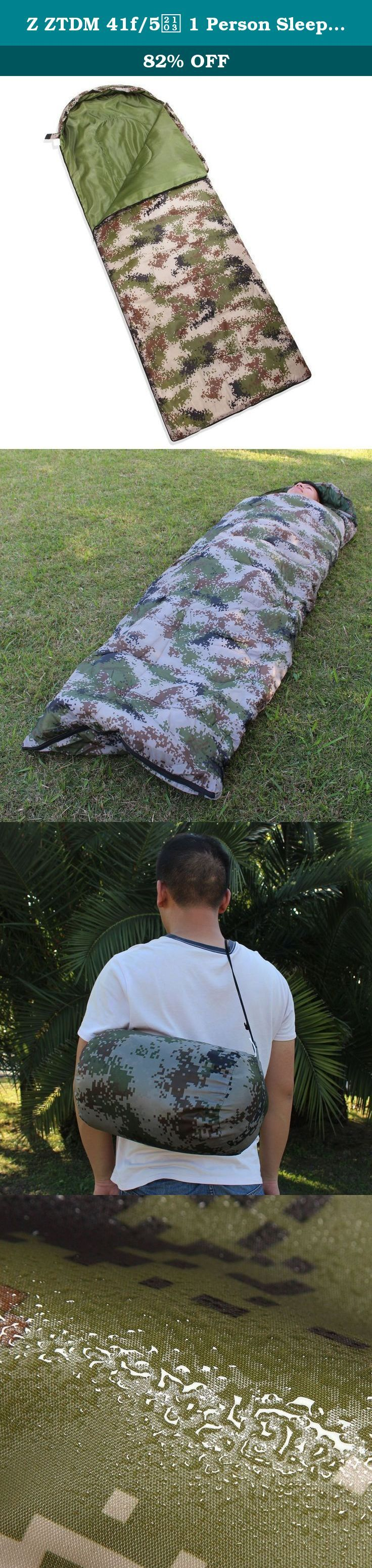 Z ZTDM 41f/5℃ 1 Person Sleeping Bag with a Carrying Bag for Camping, Backpacking, Hiking, Travel 82 x 27 inch Camo Lightweight Sleeping Bag. Item Specifications: 1. In the wild to prevent moisture or cold air to enter, and convenient to scrub 2. Full length zipper, easy to detach 3. Latest technology makes sure the sleeping bag is packed with features to keep you warm and comfortable 4. The sleeping bag can be unzipped and opened flat for use as a blanket 5. You can simply roll up the...