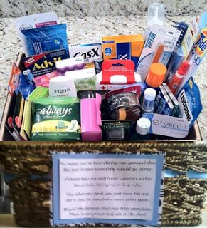 Wedding Bathroom Basket: How to put together a bathroom basket with a list of needed supplies & creative saying.