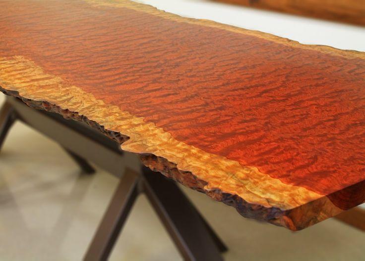 Finished Bubinga Pommele table top slab in our corporate office #bubinga #bubingapommele #liveedge #lumber #tabletopslab #bohlke