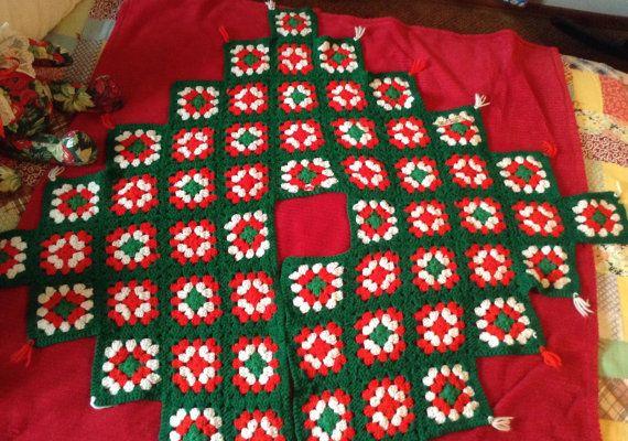 Granny Square Tree Skirt, Hand Crochet in Red White Green ...