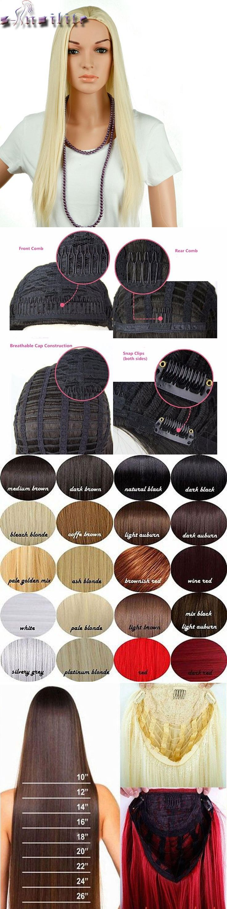 """S-noilite Real Natural Ladies 25"""" Long Straight Half Wig Heat Resistant Black Brown Blonde Synthetic Hair Wigs for human"""