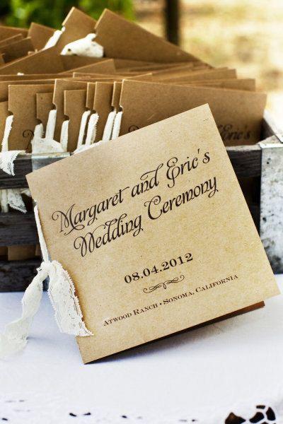 Rustic Wedding Programs Kraft and Lace by paperandlaceaustin, $135.00