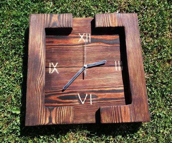 Nowatorski ręcznie wykonany zegar na ścianę z palonego drewna Osiek - image 2
